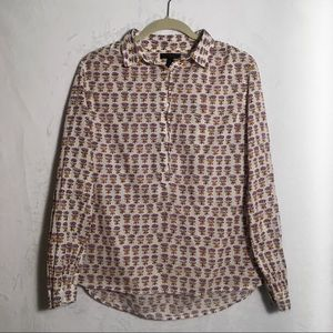 J. Crew Gathered Popover Top with Lotus Print
